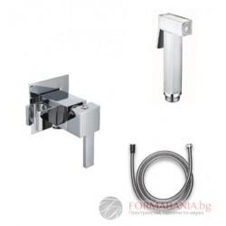 Квадратен хигиенен душ комплект за биде Disflex Lux Carre