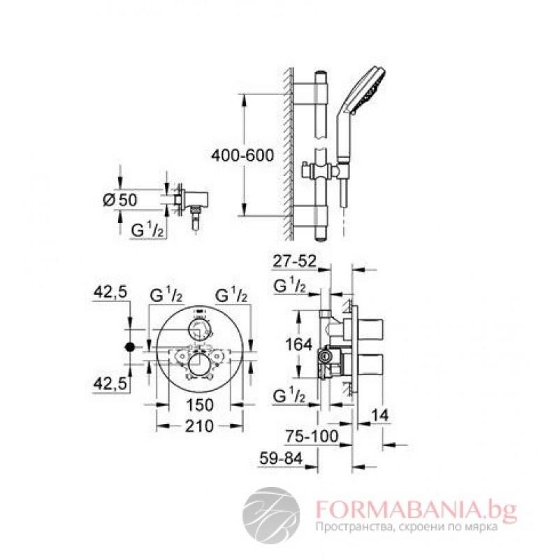 Unterschiedlich GROHE Grohtherm 3000 Cosmopolitan Shower Thermostat w/ Rainshower  JR63