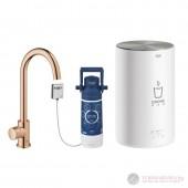 Grohe Red MONO II Кухненска система за топла и гореща вода, C-образен чучур, мед, полиран, 30085DA1