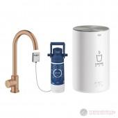 Grohe Red MONO II Кухненска система за топла и гореща вода, C-образен чучур, мед, матиран, 30085DL1