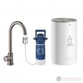 Grohe Red MONO II Кухненска система за топла и гореща вода, C-образен чучур, графит, полиран, 30085A01