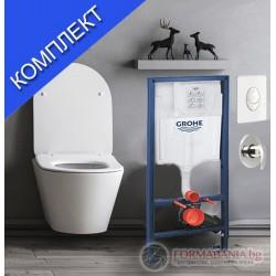 Комплект тоалетна с биде, казанче и смесител Grohe Avva 4