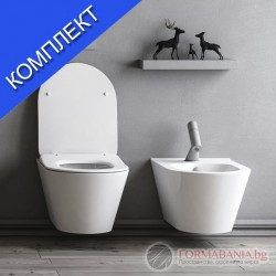 Тоалетна с биде комплект с капак и смесител Lucco Avva