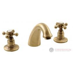 Antea 3 Ретро смесител за мивка тридупков, бронз