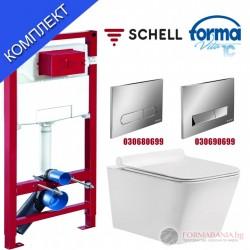 Структура за вграждане Schell и висяща тоалетна Forma Vita M-102